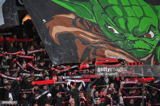 Rennes' supporters cheer prior to the French L1 football match between Rennes and Paris Saint Germain on December 16 at the Roazhon Park in Rennes...