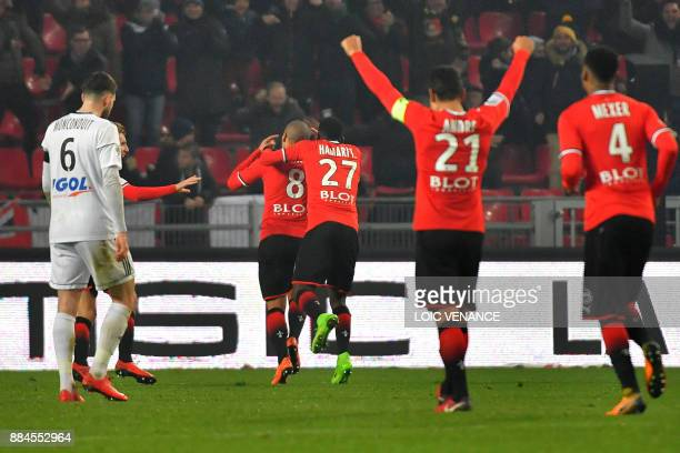 Rennes' Tunisian midfielder Wahbi Khazri celebrates after scoring during the French L1 football match Rennes vs Amiens on December 2 2017 in Rennes...