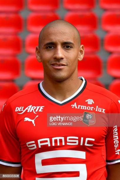 Rennes' Tunisian midfielder Wahbi Khazri poses during the official presentation of the French Ligue 1 football Club Stade Rennais FC on September 19...