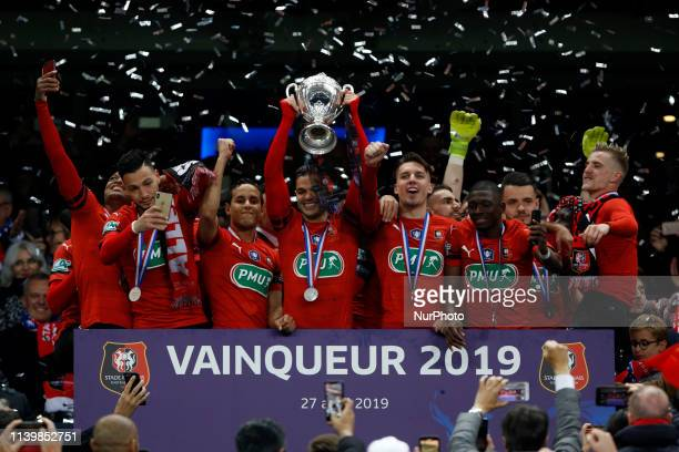 FC Rennes won the trophy during the French Cup final match between Stade Rennais and Paris SaintGermain at Stade de France in SaintDenis north of...