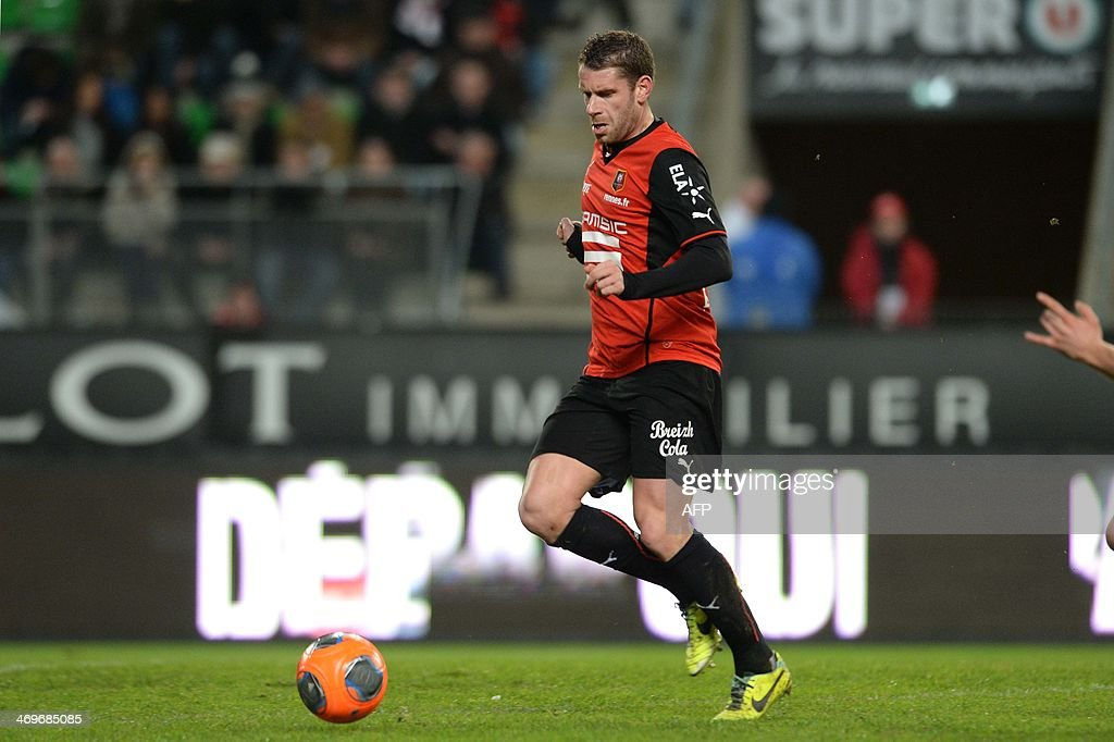 Rennes's French defender Sylvain Armand competes during the French L1 football match between Rennes and Montpellier on February 15, 2014 at the Route de Lorient stadium in Rennes, western France.