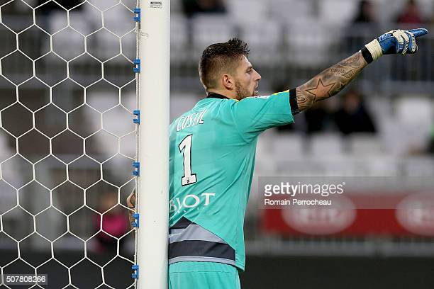 Rennes's goalkeeper Benoit Costil gestures during the French Ligue 1 match between FC Girondins de Bordeaux and Stade Rennais at Stade Matmut...