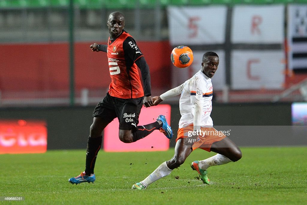 Rennes's Senegalese defender Cheik MBengue (L) vies with Montpellier's Colombian forward Victor Hugo Montano (R) during the French L1 football match between Rennes and Montpellier on February 15, 2014 at the Route de Lorient stadium in Rennes, western France.