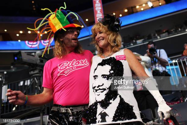 Rennick Taylor and Kelly Jacob attend day one of the Democratic National Convention at Time Warner Cable Arena on September 4, 2012 in Charlotte,...