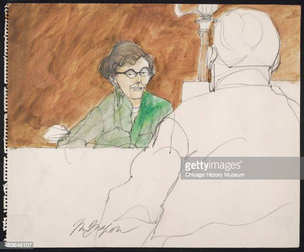 Rennie Davis cross examined by Thomas Foran in a courtroom illustration during the trial of the Chicago Eight Chicago Illinois late 1969 or early...
