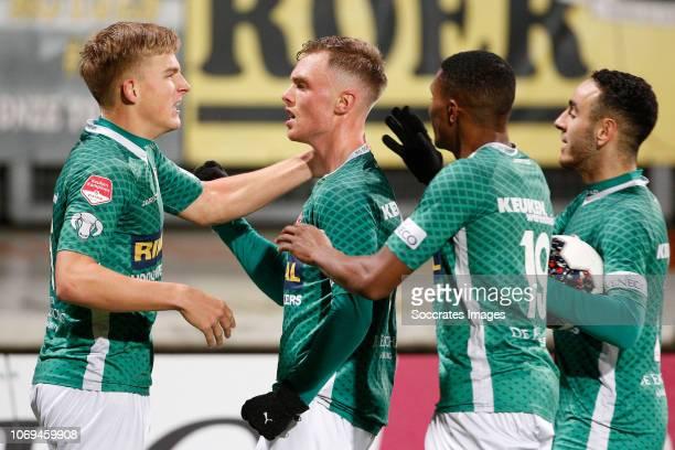 Renny Smith of FC Dordrecht celebrates 22 during the Dutch Keuken Kampioen Divisie match between Roda JC v FC Dordrecht at the Parkstad Limburg...