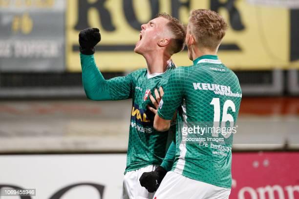 Renny Smith of FC Dordrecht celebrates 22 with Thijs Timmermans of FC Dordrecht during the Dutch Keuken Kampioen Divisie match between Roda JC v FC...