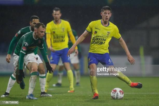 Renny Smith of FC Dordrecht, Dwayne Green of FC Dordrecht, Mees Hoedemakers of SC Cambuur during the Dutch Keuken Kampioen Divisie match between FC...