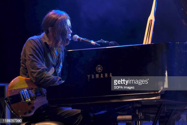 Reno Jazz Festival award winner Stanley Jordan American jazz fusion singer songwriter guitarist and pianist performs live on stage at Wickham...