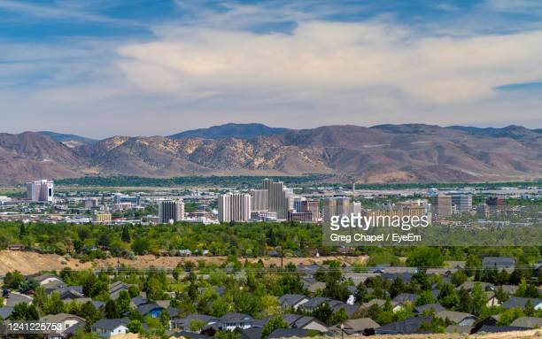 reno, nevada usa, may 24, 2020  downtown skyline cityscape of reno nevada with hotels and casinos. - nevada stock pictures, royalty-free photos & images