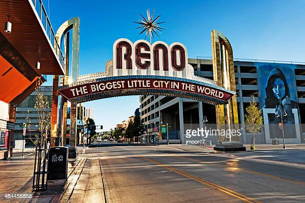 Reno Nevada Welcome Sign and Morning Street Views