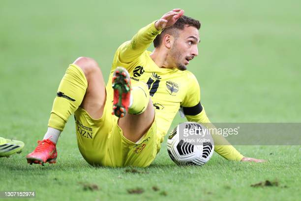 Reno Piscopo of the Phoenix appeals to the referee from the ground during the A-League match between the Western Sydney Wanderers and the Wellington...