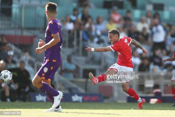 Reno Piscopo of the Phoenix scores a goal during the A-League match between the Wellington Phoenix and the Perth Glory at WIN Stadium, on March 07 in...