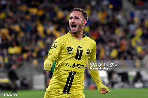 Reno Piscopo of the Wellington Phoenix celebrates a goal during the A-League match between Wellington Phoenix and Western United at Sky Stadium, on...