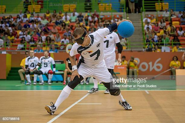 Reno Tiede of RGC Hansa Rostock e.V./Mecklenburg-Vorpommern [paralympic classification: B2] shooting a ball on Day-5 of the Rio 2016 Paralympic Games...