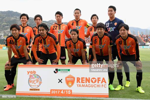 Renofa Yamaguchi players line up for the team photos prior to the JLeague J2 match between Renofa Yamaguchi and JEF United Chiba at Ishin Memorial...