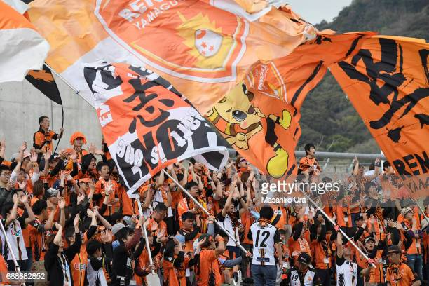 Renofa Yamaguchi supporters cheer prior to the JLeague J2 match between Renofa Yamaguchi and JEF United Chiba at Ishin Memorial Stadium on April 15...