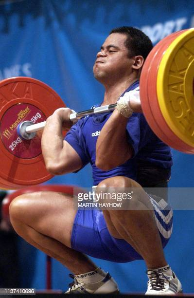 Renos Doweiya of Nauru who came third in the Snatch Jerk category of the 77kg weightlifting 01 August at the 17th Commonwealth Games Manchester...