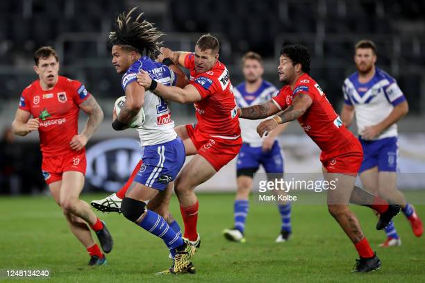 Renouf To'omaga of the Bulldogs charges forward during the round four NRL match between the Canterbury Bulldogs and the St George Illawarra Dragons...