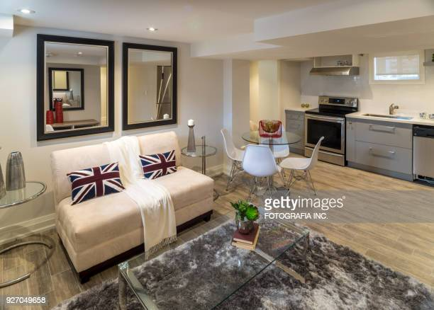 renovated basement apartment - basement stock pictures, royalty-free photos & images