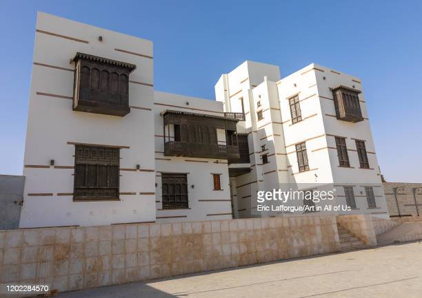 Renovated historic house with wooden mashrabiyas, Al Madinah Province, Yanbu, Saudi Arabia on December 26, 2019 in Yanbu, Saudi Arabia.