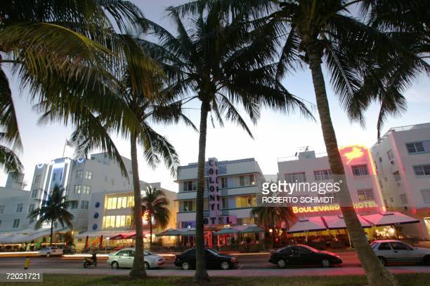Renovated hotel buildings overlooking Ocean Drive are adorned by neon lights in the early evening 26 September 2006 The city of Miami Beach has a...