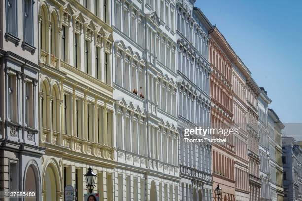 Renovated residential buildings are located in a street in the district of Kreuzberg on April 17 2019 in Berlin Germany