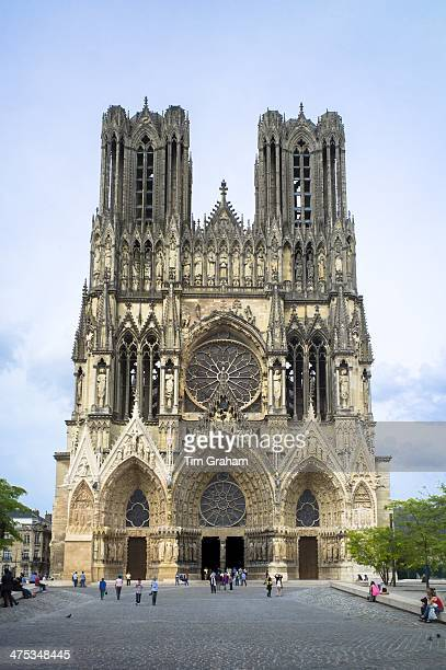 Renovation and cleaning works at Reims Notre Dame Cathedral ChampagneArdenne France
