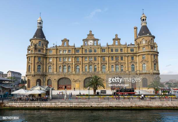 renovation of historical burned old haydarpasa train station at istanbul - haydarpasa stock photos and pictures