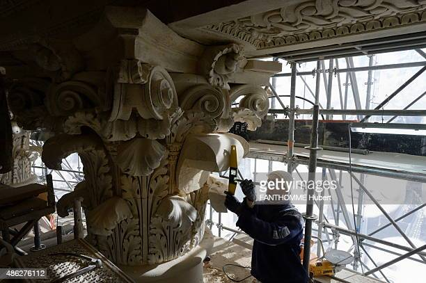 Renovation of the Dome of the Pantheon by the center of National Historics Monuments in Paris on March 04 2015The sculptor Alexandre Callet roughhews...