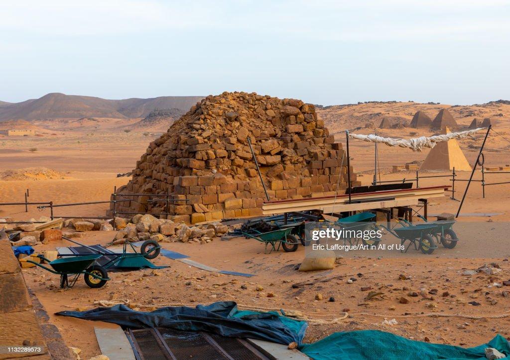 Renovation of the pyramids of the kushite rulers at Meroe, Northern State, Meroe, Sudan... : News Photo