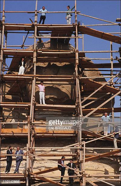 Renovation of the Sphinx Cairo in Cairo Egypt in May 1990 All the experts working on the sphinx Left to right top to bottom Eduardo Porta Neville...