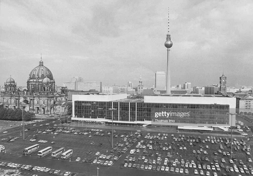 Renovation or demolition, the Palace of the Republic is contaminated with asbestos on September 21, 1990, in Berlin, Germany. The year 2014 marks the 25th anniversary of the fall of the Berlin Wall.