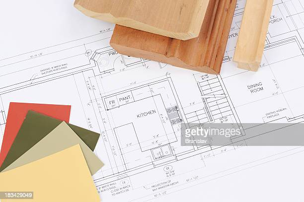 Renovation plans for kitchen with wood and paint samples