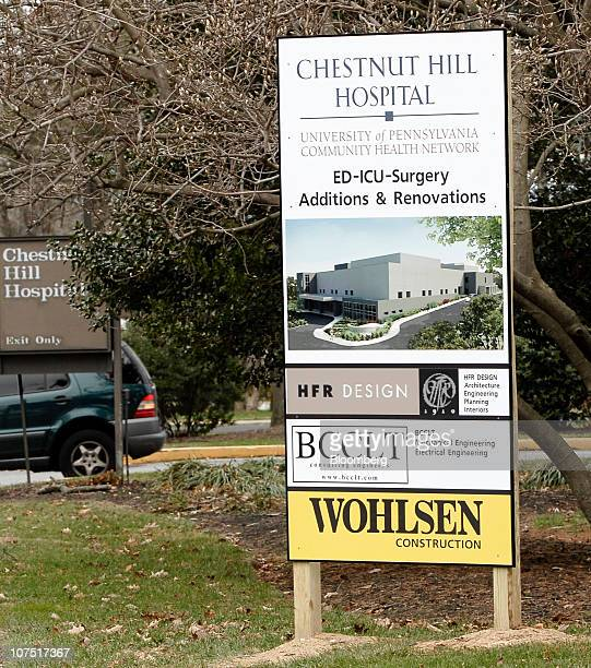 A renovation sign is seen on the grounds of Community Health's Chestnut Hill Hospital in Philadelphia Pennsylvania US on Friday Dec 10 2010 Community...