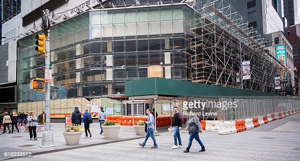 Renovation work proceeds on the space formerly occupied by Toys R Us in Times Square in New York on Friday, March 18, 2016. Toys R Us left their...
