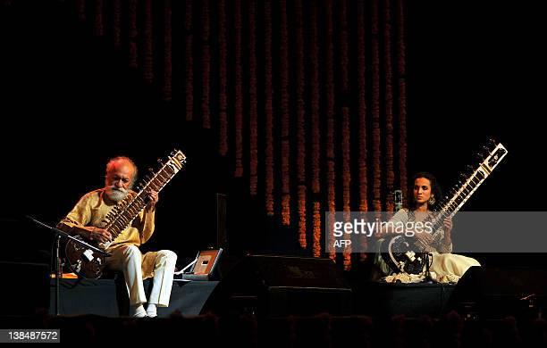 Renown Indian Sitar maestro Pandit Ravi Shankar and his daughter Anoushka Shankar perform during the 'Premaanjali Festival 2012' a musical concert...