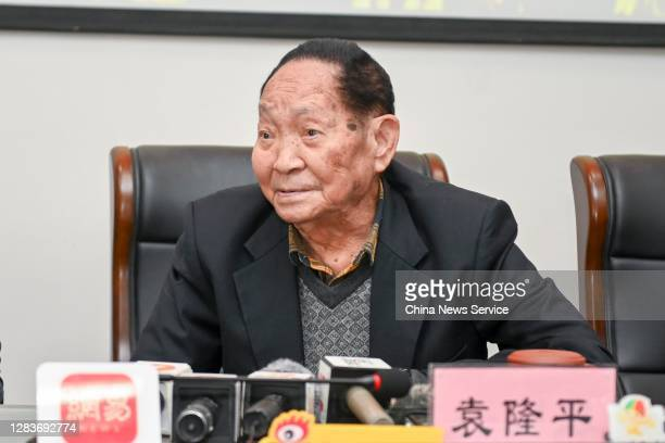 Renowned agronomist Yuan Longping, known as the 'father of hybrid rice', speaks during a news conference on November 3, 2020 in Changsha, Hunan...