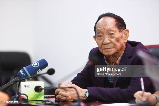 Renowned agronomist Yuan Longping, known as the 'father of hybrid rice', attends a news conference on October 18, 2018 in Changsha, Hunan Province of...