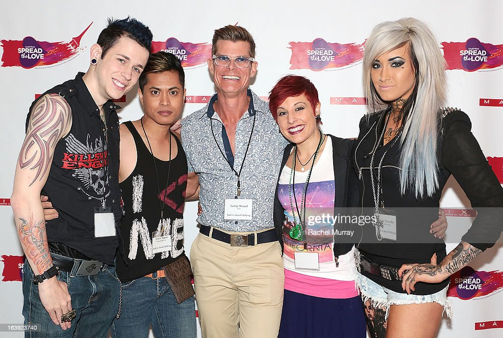 Renowned Beverly Hills hairstylist Lenny Strand (C) and (L-R) MATRIX Professional Haircare & Color SPREAD THE LOVE winners Patrick Heid, Erwin Sapao, Jessica Bosworth, and Jackie Hovorka attend the Bash To Banish Bullying Benefiting It Gets Better, a Matrix Chairs Of Change Event - Day 1 at Saguaro Hotel on March 16, 2013 in Palm Springs, California.