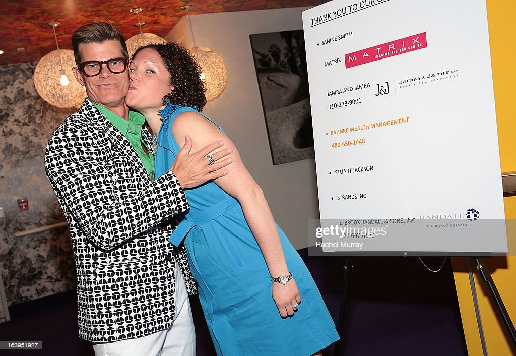 Renowned Beverly Hills hairstylist Lenny Strand (L) and Matrix, USA Vice President. Marketing Elisa Fischer attend the Bash To Banish Bullying Benefiting It Gets Better, A Matrix Chairs Of Change Event - Day 2at Saguaro Hotel on March 17, 2013 in Palm Springs, California.