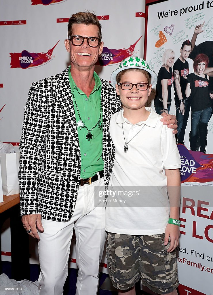Renowned Beverly Hills hairstylist Lenny Strand (L) and Riley Scofield attend the Bash To Banish Bullying Benefiting It Gets Better, A Matrix Chairs Of Change Event - Day 2at Saguaro Hotel on March 17, 2013 in Palm Springs, California.