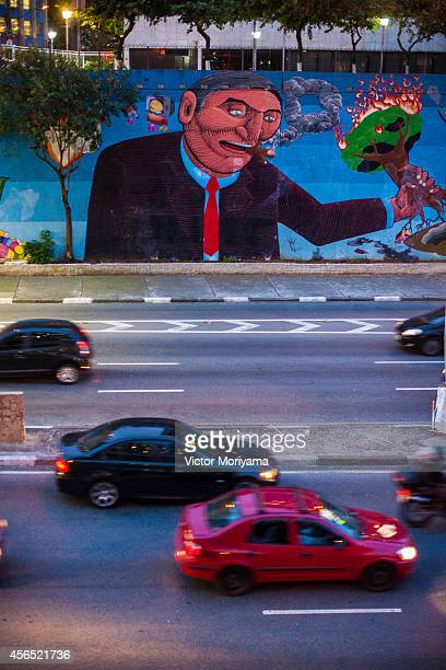 Renowned Brazilian street artist Nunca Works On New Mural in on October 01 2014 in Sao Paulo Brazil Painting done in producing a large panel produced...