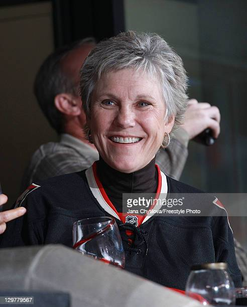 Renowned Canadian singer Anne Murray attends an NHL game between the Ottawa Senators and the Winnipeg Jets at Scotiabank Place on October 20 2011 in...
