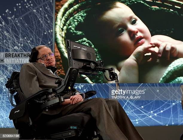 Renowned cosmologist Professor Stephen Hawking attends a press conference at One World Observatory April 12 2016 in New York to announce a new...