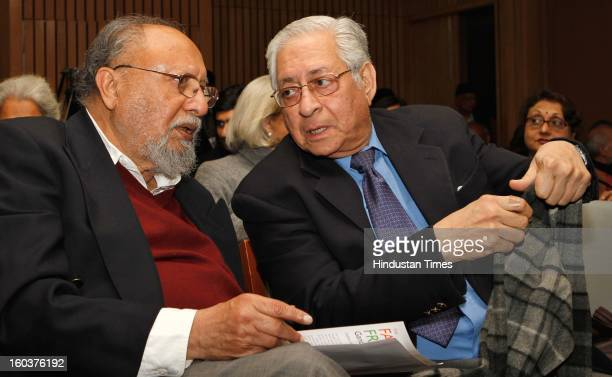 Renowned Sociologist Ashis Nandy L} with Soli J Sorabji former solicitor General at the release of Professor Mushirul Hasan's book 'Faith and Freedom...