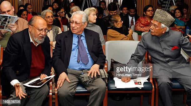 Renowned Sociologist Ashis Nandy with Soli Jehangir Sorabjee and Natwar Singh at the release of Professor Mushirul Hasan's book 'Faith and Freedom...