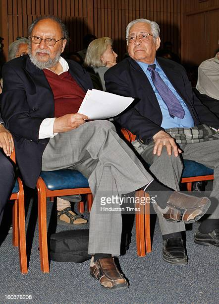 Renowned Sociologist Ashis Nandy with Soli Jehangir Sorabjee at the release of Professor Mushirul Hasan's book 'Faith and Freedom Gandhi in History'...