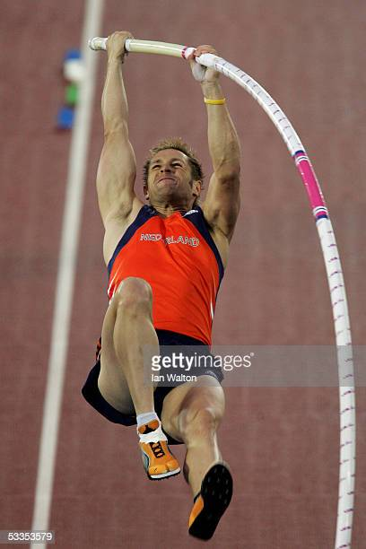 Rens Blom of the Netherlands competes during the men's Pole Vault final at the 10th IAAF World Athletics Championships on August 11 2005 in Helsinki...