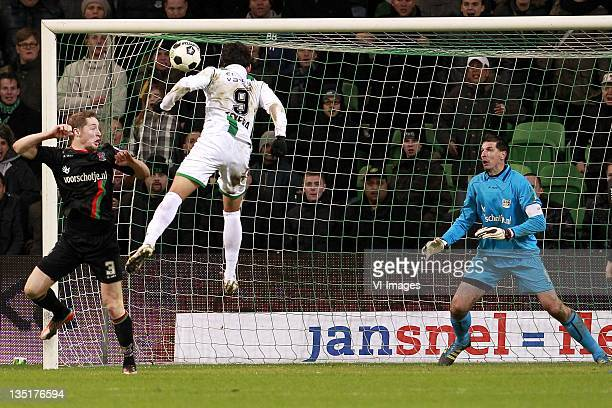 Rens van Eijden of NEC,David Texeira of FC Groningen,Gabor Babos of NEC during the Dutch Eredivisie match between FC Groningen and NEC Nijmegen at...